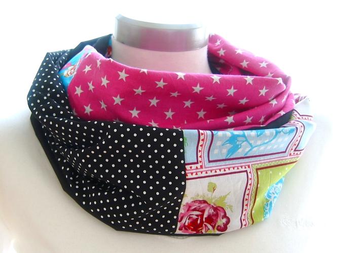 Kleinesbild - Milo-Schaly Loop ALLROUNDER  4+ Varianten Baumwolle Patchwork Wendeloop Patchworkloop blau pink schwarz Punkte Blumen Sterne Einzelstück