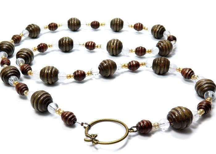 Kleinesbild - Kayleigh-und-Sorrow lange Halskette Boho Ethno Kette braun goldfarben