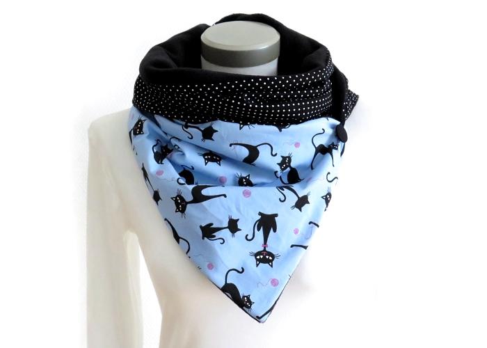 Kleinesbild - Milo-Schaly Wickelschal mit Knopf Damen Katzen blau Patchwork Knopfschal Fleece warmer Schal