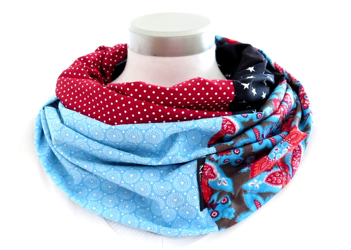 Kleinesbild - Milo-Schaly  Loop Schal Damen Baumwolle Wendeschal Patchwork rot blau