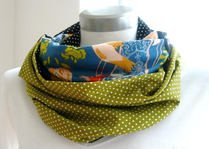 Kleinesbild - Milo-Schaly  Loop ALLROUNDER  4+ Varianten Baumwolle Wendeschal bunt Punkte Sterne Vögel Schal Baumwollschal Einzelstück Patchwork