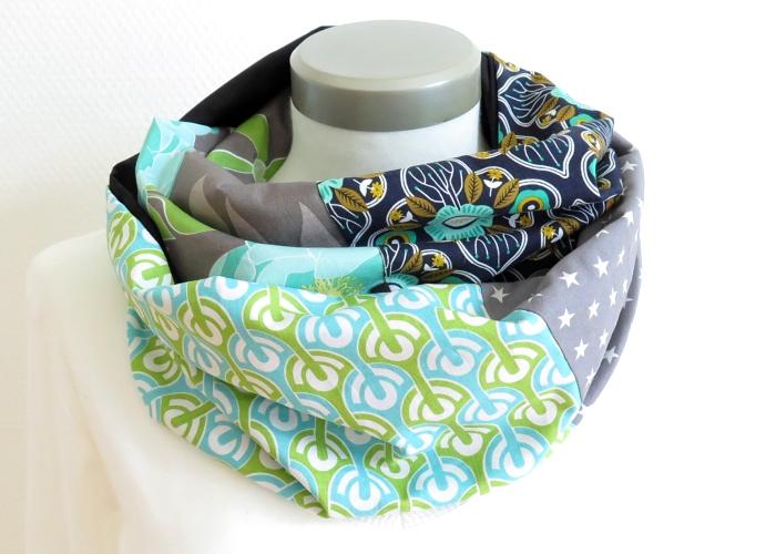 Kleinesbild - Milo-Schaly  Loop ALLROUNDER  4+ Varianten Baumwolle Wendeloop grün grau Patchwork Wendeschal Handarbeit Schlauchschal