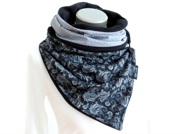 Kleinesbild - Milo-Schaly Wickelschal mit Knopf Damen Paisley Patchwork Knopfschal Fleece schwarz weiß warmer Schal