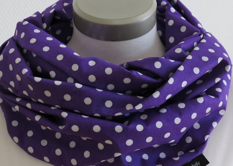 Kleinesbild - Milo-Schaly  Loop Damen Baumwolle lila weiß Punkte Loopschal Baumwollschal Schlauchschal Tupfen