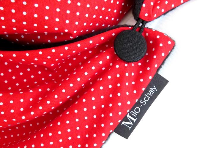 Kleinesbild - Milo-Schaly Wickelschal mit Knopf Punkte rot-weiß  Damen Schal Fleece Knopfschal