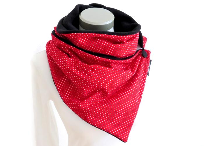 - Milo-Schaly Wickelschal mit Knopf Punkte rot-weiß  Damen Schal Fleece Knopfschal  - Milo-Schaly Wickelschal mit Knopf Punkte rot-weiß  Damen Schal Fleece Knopfschal