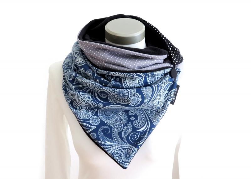 Kleinesbild - Milo-Schaly Wickelschal mit Knopf Paisley blau Damen warmer Schal Fleece Knopfschal