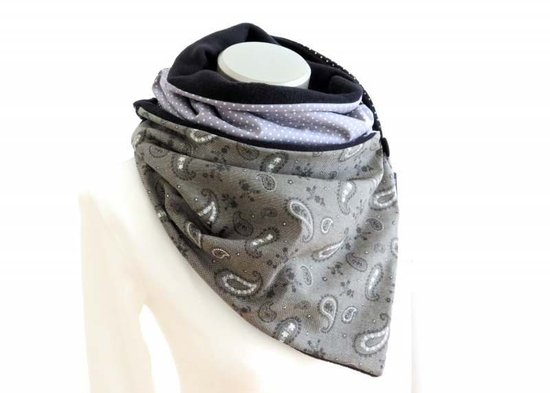 Kleinesbild - Milo-Schaly Wickelschal mit Knopf Paisley Damen warmer Schal Fleece Knopfschal