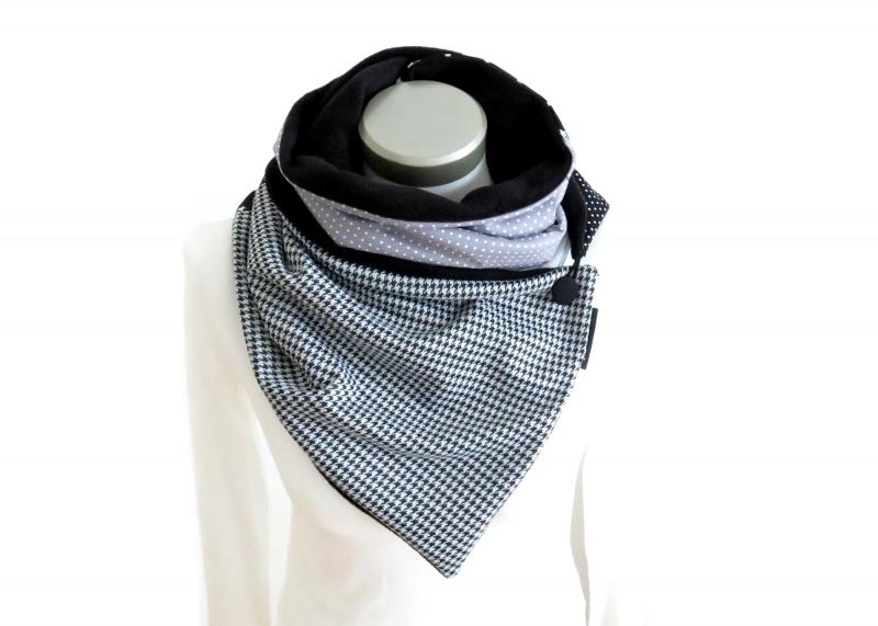 Kleinesbild - Wickelschal mit Knopf Damen Patchwork Fleece warmer Schal Knopfschal Hahnentritt Milo-Schaly