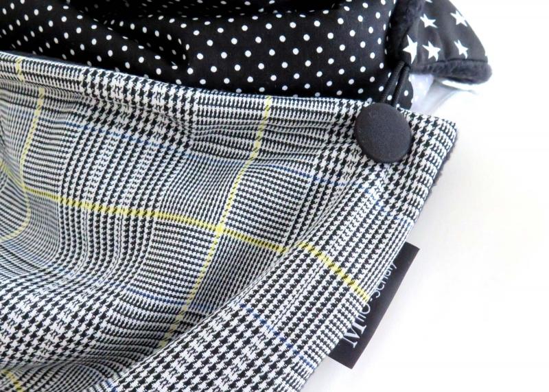 Kleinesbild - Wickelschal mit Knopf Damen Glencheck Patchwork Fleece warmer Schal Knopfschal Milo-Schaly
