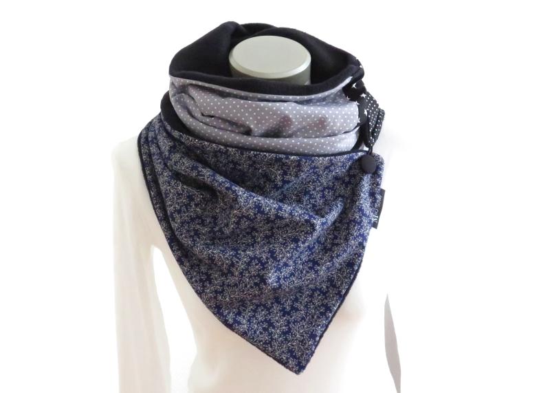 Kleinesbild -  Milo-Schaly  Wickelschal Patchwork Fleece warmer Schal Knopfschal blau grau