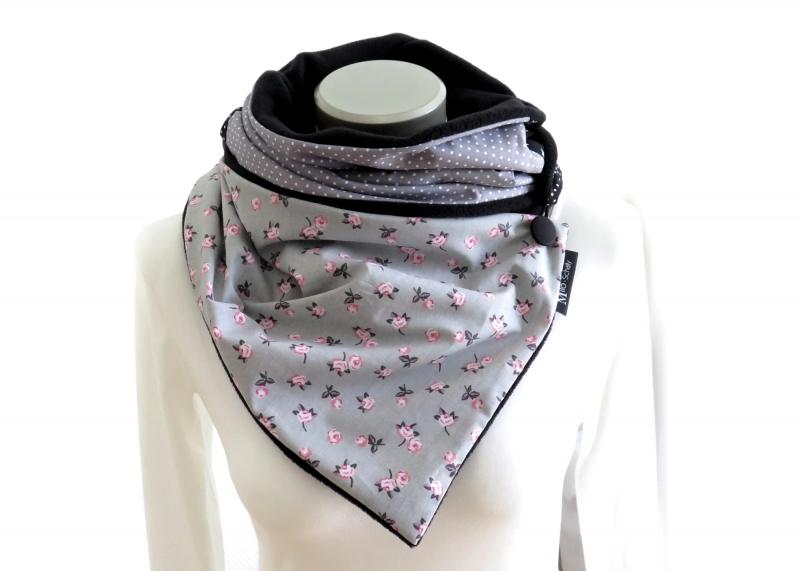 Kleinesbild -  Milo-Schaly  Wickelschal Rosen grau Fleece warmer Schal Knopfschal Schlauchschal