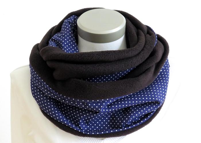Kleinesbild - Milo-Schaly Loop Fleece Loopschal blau weiß Punkte Kuschelschal