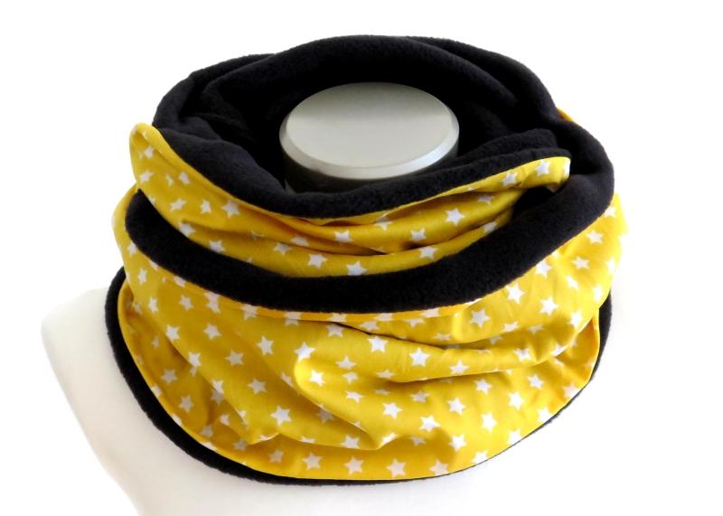- Milo-Schaly Loop Fleece Loopschal Sterne gelb weiß Kuschelschal    - Milo-Schaly Loop Fleece Loopschal Sterne gelb weiß Kuschelschal