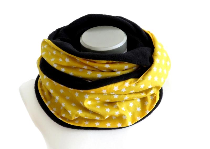 Kleinesbild - Milo-Schaly Loop Fleece Loopschal Sterne gelb weiß Kuschelschal