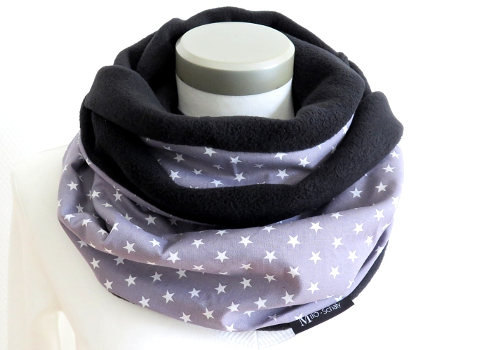 Kleinesbild - Milo-Schaly Loop Fleece Loopschal Sterne grau weiß Kuschelschal Schlauchschal
