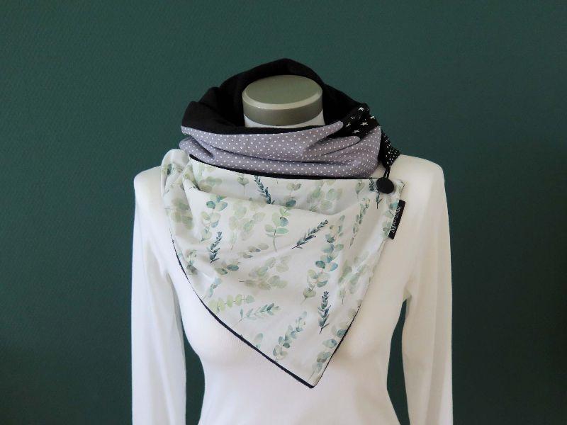 Kleinesbild -  Milo-Schaly  Wickelschal Eukalyptus Fleece warmer Schal Knopfschal Schlauchschal