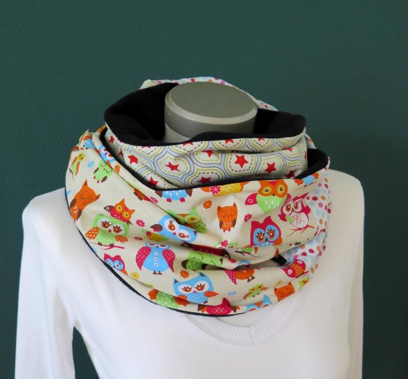 Kleinesbild - Milo-Schaly Loopschal Damen Fleece Einzelstück Eulen bunt Loop Schlauchschal Fleece Schal Kuschelschal