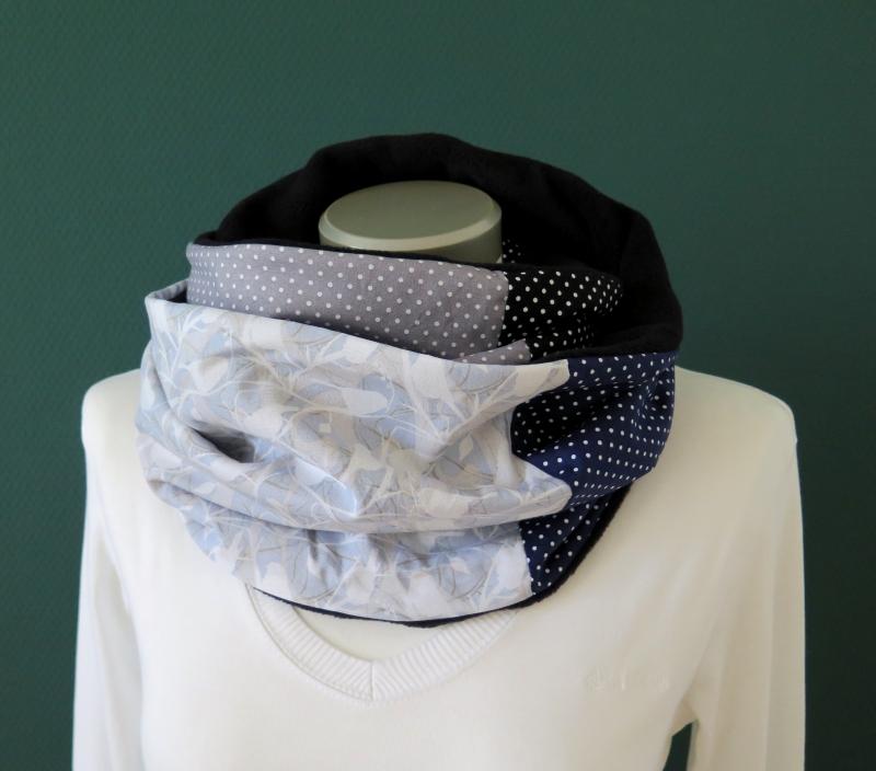 Kleinesbild - Milo-Schaly Loopschal Damen Fleece grau blau Loop Schlauchschal Fleece Schal Kuschelschal