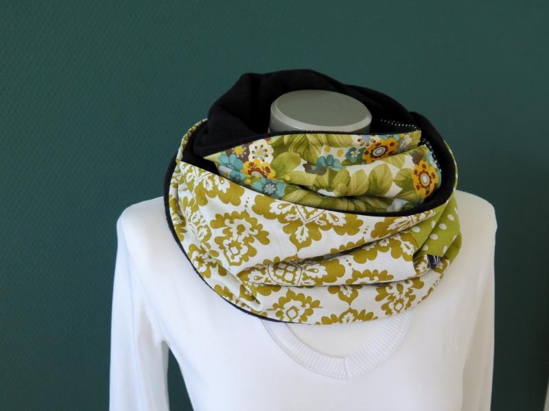 Kleinesbild - Milo-Schaly Loopschal Damen grün bunt Fleece Einzelstück  Loop Schlauchschal