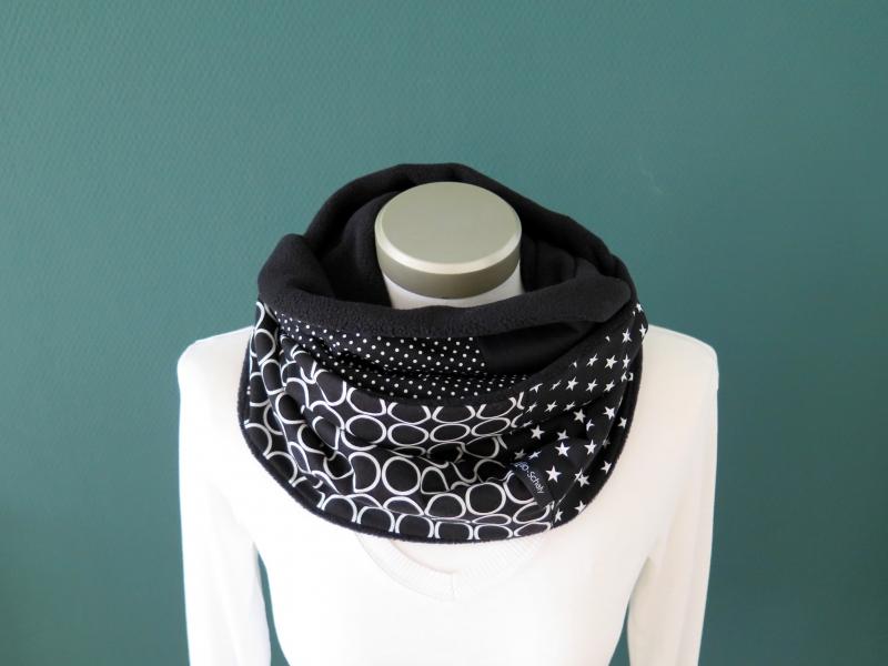 Kleinesbild - Milo-Schaly Loopschal Damen schwarz weiß Retrokreise Loop Schlauchschal Fleece Schal Kuschelschal