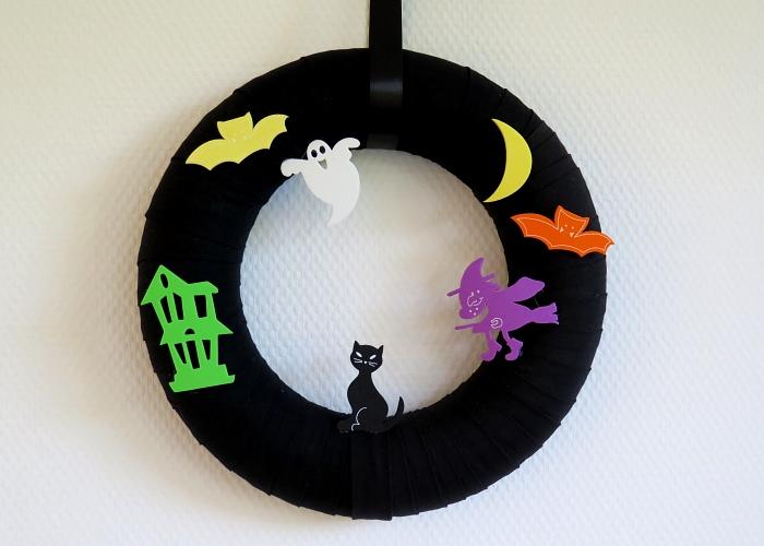 Kleinesbild - Halloween Deko Kranz Landhaus Patchwork Türkranz schwarz bunt Hexe Gespenst Fledermaus Shabby