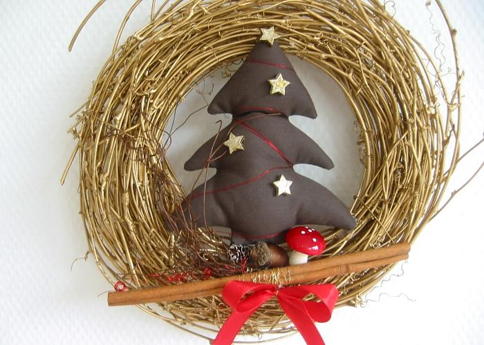 Kleinesbild - Türkranz Kranz Baum Weihnachten Deko Winter Advent Weihnachtsdeko goldfarben
