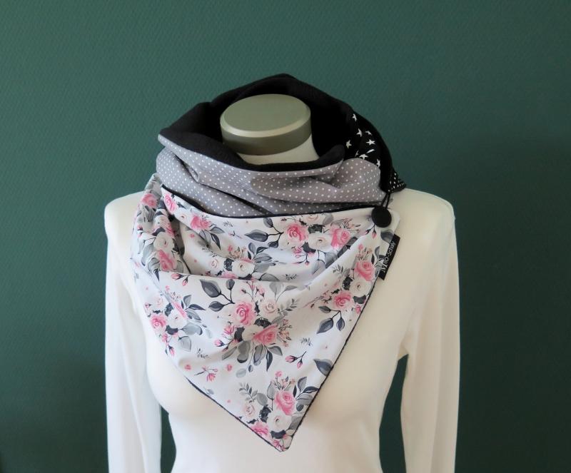Kleinesbild -  Milo-Schaly  Wickelschal mit Knopf Damen Rosen weiß grau Fleece warmer Schal Knopfschal Schlauchschal Kuschelschal