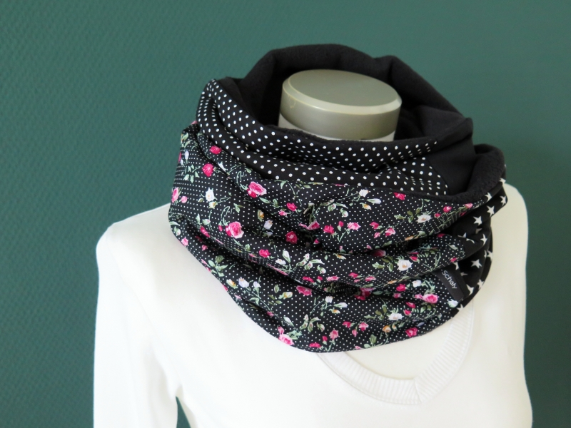 Kleinesbild - Milo-Schaly Loopschal Damen Rosen Romantik schwarz Loop Fleece Schlauchschal