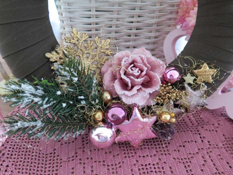 Kleinesbild - Türkranz rosa goldfarben Frost Rose Kranz Weihnachtsdeko Advent