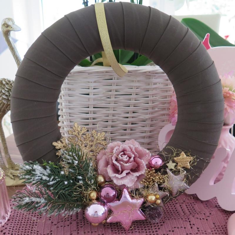 - Türkranz rosa goldfarben Frost Rose Kranz Weihnachtsdeko Advent  - Türkranz rosa goldfarben Frost Rose Kranz Weihnachtsdeko Advent