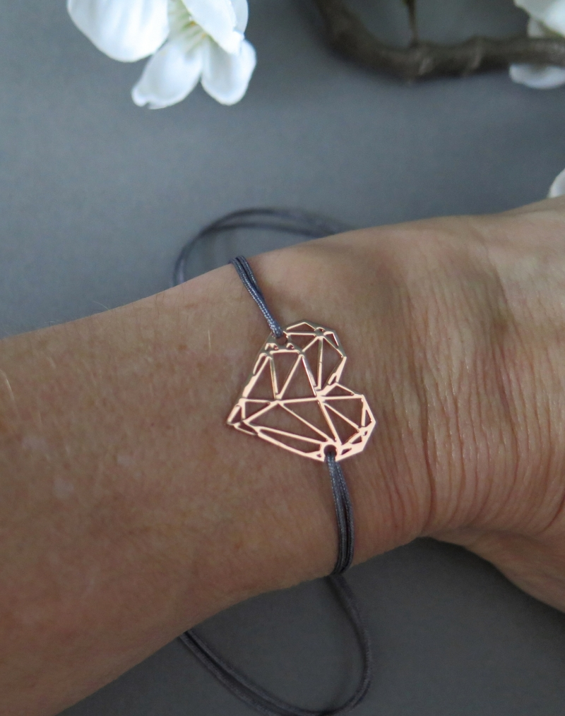 Kleinesbild - Armband Herz rosegoldfarben Freundschaftsarmband Makramee Farbwahl 25 Farben