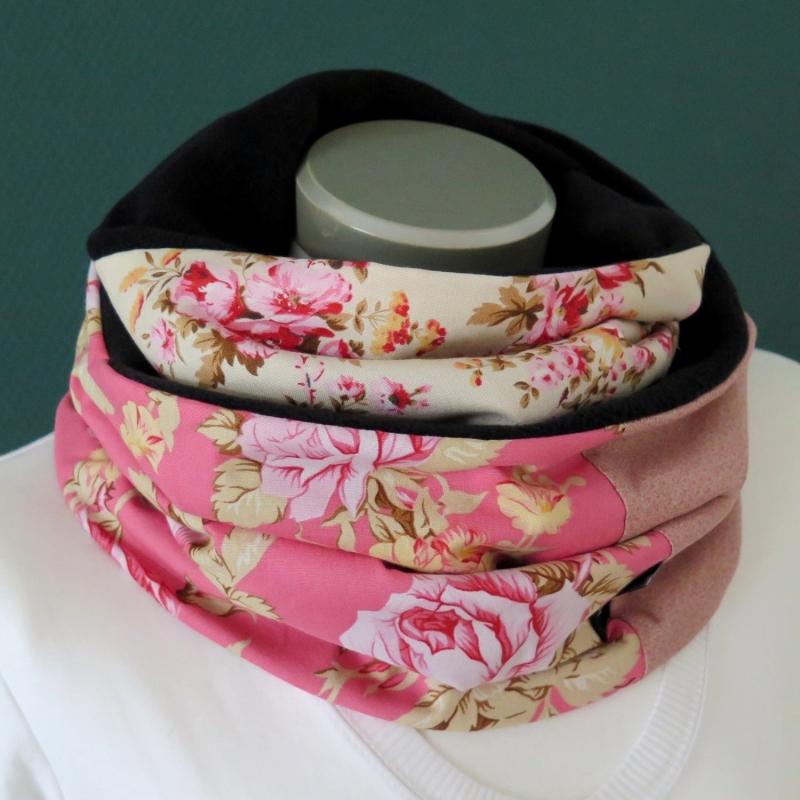 - Milo-Schaly Loopschal Damen Rosen rosa bunt Fleece Einzelstück Loop Schlauchschal    - Milo-Schaly Loopschal Damen Rosen rosa bunt Fleece Einzelstück Loop Schlauchschal