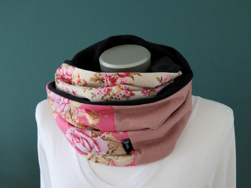 Kleinesbild - Milo-Schaly Loopschal Damen Rosen rosa bunt Fleece Einzelstück Loop Schlauchschal