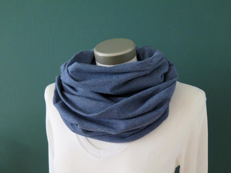 Kleinesbild - Milo-Schaly Loop Sweat blau meliert Baumwolle Herren kuscheliger Schal unisex