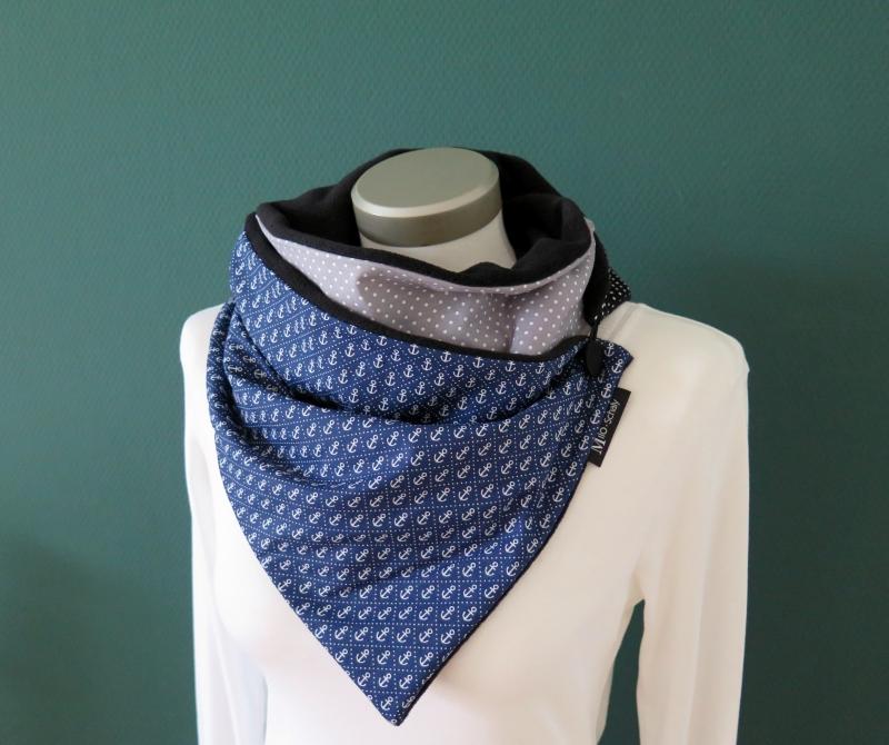 Kleinesbild -  Milo-Schaly Wickelschal mit Knopf Anker blau grau Damen Fleece warmer Schal Knopfschal Schlauchschal Kuschelschal