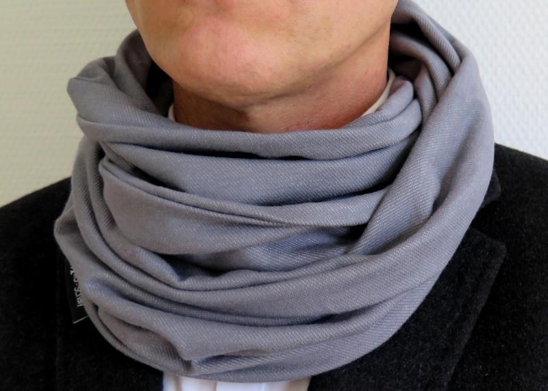 Kleinesbild - Milo-Schaly Loop Männer Schal Jersey grau meliert Baumwolle unisex Schlauchschal