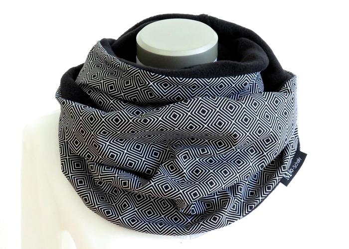 Kleinesbild - Milo-Schaly Loop Damen schwarz weiß Fleece Kuschelschal
