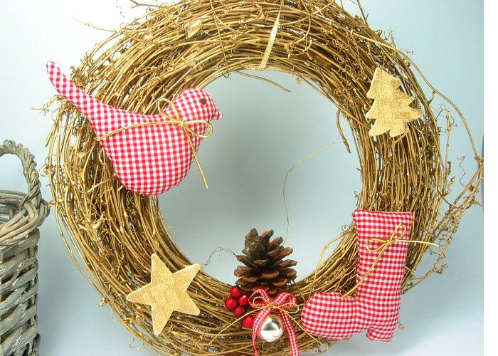 Kleinesbild - Türkranz Kranz Advent Weihnachten Nikolausstiefel Weihnachtsdeko goldfarben rot