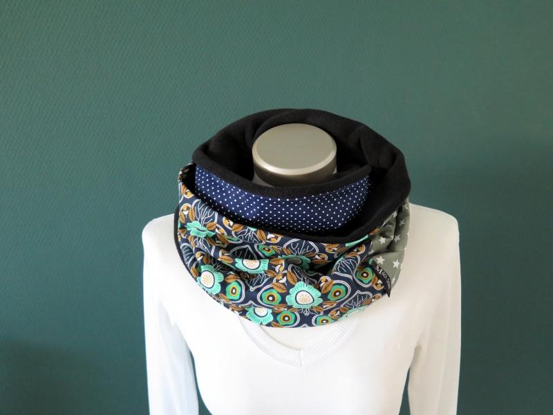 Kleinesbild - Milo-Schaly Loopschal Damen Schal Blumen blau grün  Loop Fleece Schlauchschal