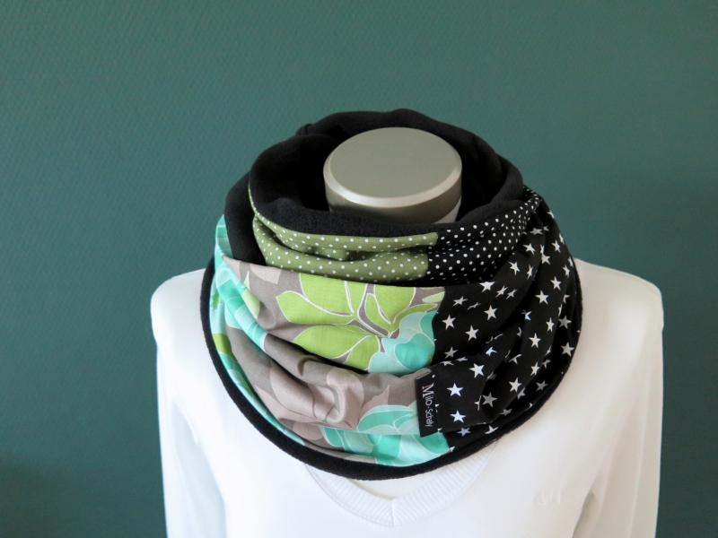 Kleinesbild - Milo-Schaly Loopschal Damen Schal Blumen grau grün mint Loop Fleece Schlauchschal