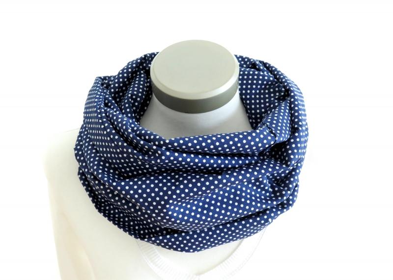 Kleinesbild - Milo-Schaly Loop Damen Baumwolle blau weiß Punkte Loopschal Baumwollschal