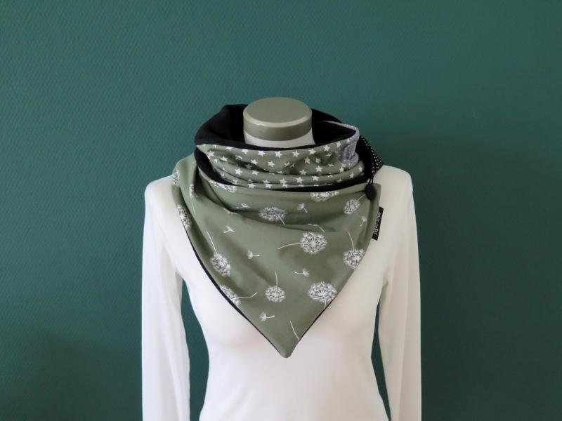 Kleinesbild - Milo-Schaly Wickelschal mit Knopf Damen Pusteblume grün Schal Fleece Knopfschal