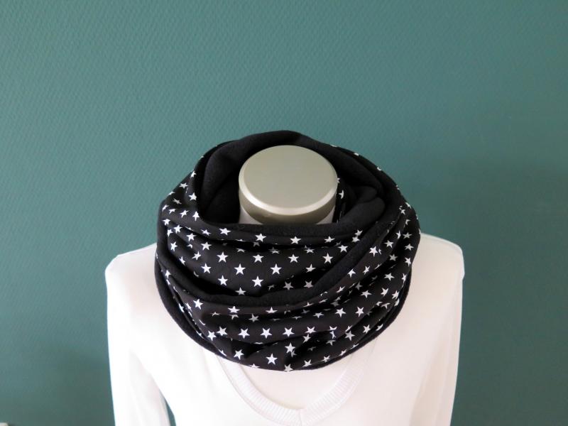 Kleinesbild - Milo-Schaly Loop Fleece Loopschal Sterne schwarz weiß Kuschelschal Schlauchschal warmer Schal