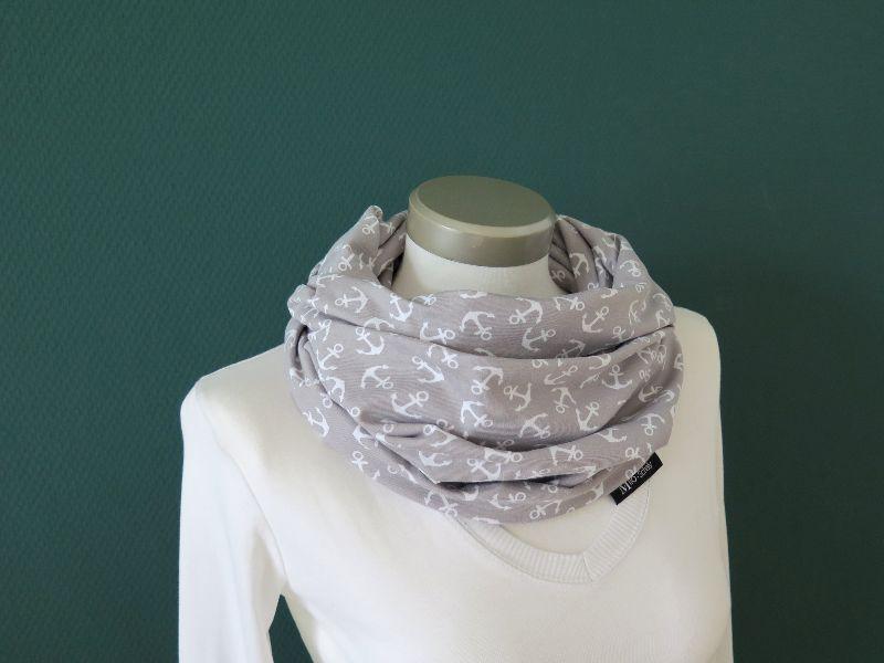Kleinesbild - Milo-Schaly Loop Schal Baumwolle Jersey Anker grau-weiß Baumwolljersey Loopschal Schlauchschal