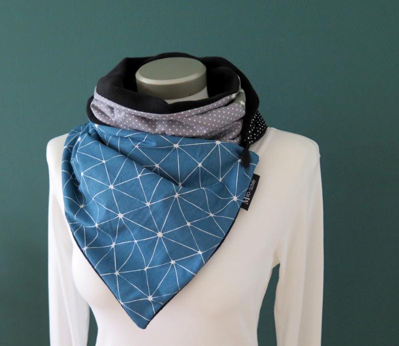 Kleinesbild - Milo-Schaly Wickelschal mit Knopf Damen petrol grau warmer Schal Fleece Knopfschal