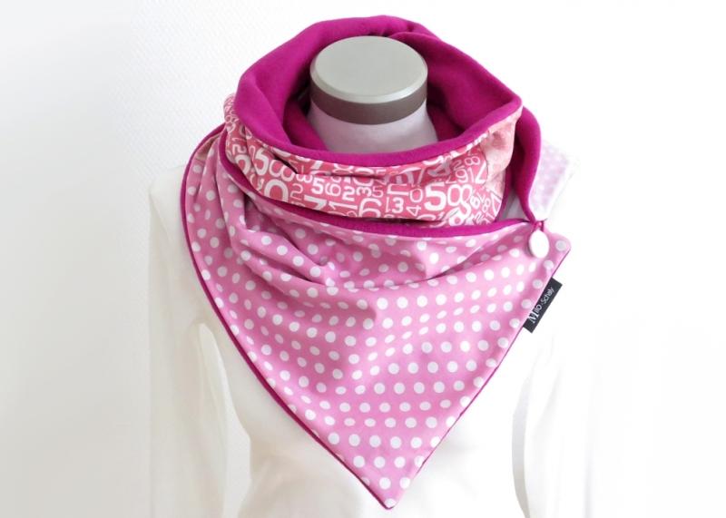 Kleinesbild - Milo-Schaly Wickelschal mit Knopf Damen Baumwolle pink rosa warmer Schal