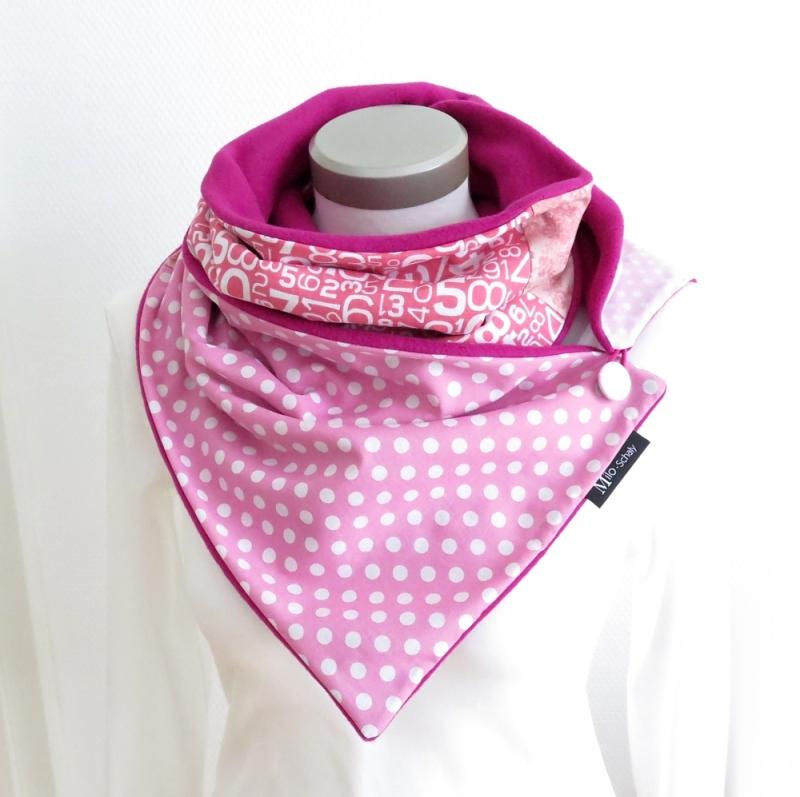 - Milo-Schaly Wickelschal mit Knopf Damen Baumwolle pink rosa warmer Schal - Milo-Schaly Wickelschal mit Knopf Damen Baumwolle pink rosa warmer Schal