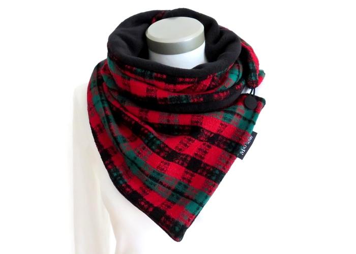Kleinesbild - Milo-Schaly Wickelschal mit Knopf Boucle grün rot Damen Schal Fleece