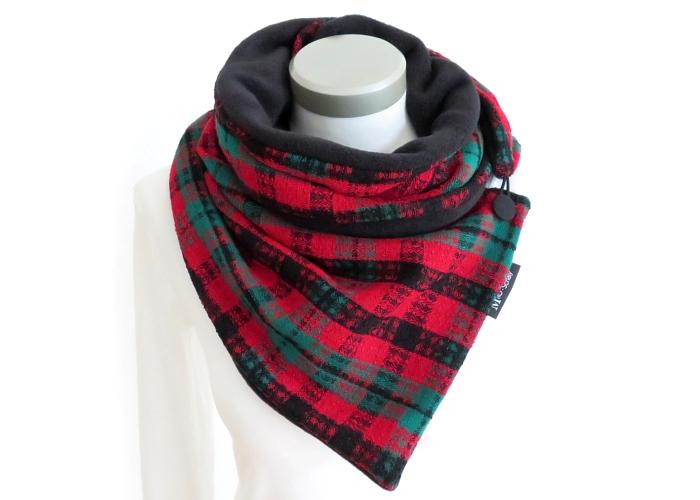 - Milo-Schaly Wickelschal mit Knopf Boucle grün rot Damen Schal Fleece - Milo-Schaly Wickelschal mit Knopf Boucle grün rot Damen Schal Fleece